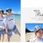 ชุดว่ายน้ำแขนยาว เสื้อสีขาว+กางเกงขาสั้นลายสวยโทนสีฟ้า thumbnail 10