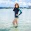 ชุดว่ายน้ำแขนยาว เสื้อน้ำเงินกรมท่า กางเกงขาสั้นตัดขอบเขียวสะท้อนแสง palm leaf thumbnail 2