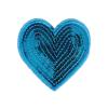 M0033 Blue Sequins heart 7.5x6.5 cm
