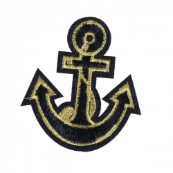 S0044 Black Gold Anchor Patch 6.8x6cm