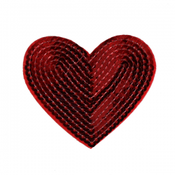 M0032 RED Sequins heart 7.5x6.5 cm