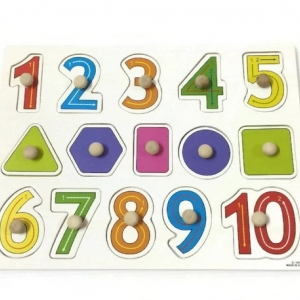 จิ๊กซอว์หมุดไม้ชุดตัวเลข 1 - 10 และรูปทรง มีพื้นหลัง ขนาด 30x20 เซนติเมตร