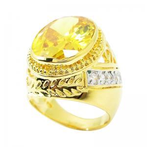 แหวนผู้ชายลายฉลุพลอยรูปไข่บุศราคัม14x18มิลประดับเพชรจิกไข่ปลาชุบทอง