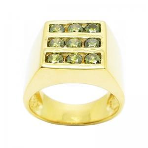 แหวนผู้ชายประดับพลอยสีเขียวส่องชุบทอง