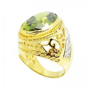 แหวนผู้ชายลายฉลุพลอยรูปไข่สีเขียวส่อง14x18มิลประดับเพชรจิกไข่ปลาชุบทอง