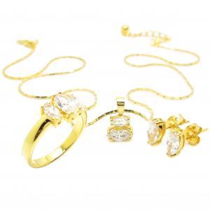 เซ็ท แหวน สร้อยพร้อมจี้และต่างหูประดับเพชรมาคีย์ชุบทอง
