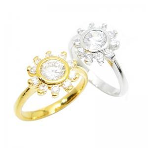 เซ็ท 2 วงแหวนดอกไม้ประดับเพชรกลมเม็ดกะรัต