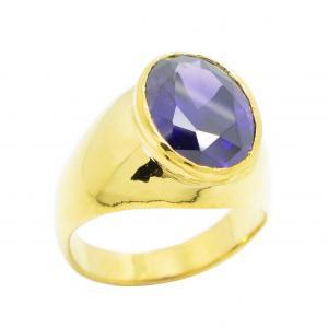 แหวนผู้ชายประดับพลอยอเมทิสชุบทอง