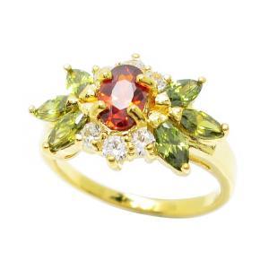 แหวนดอกไม้พลอยโกเมนประดับเพชรและพลอยมาคีย์สีเขียวส่องชุบทอง
