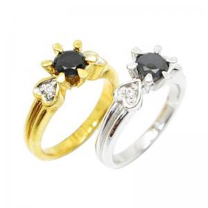 เซ็ท 2 วงแหวนประดับเพชรและพลอยนิลดำ