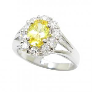 แหวนดอกไม้เพชรล้อมพลอยบุศราคัมชุบทองคำขาว