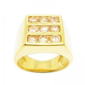 แหวนผู้ชายประดับพลอยแชมเปญชุบทอง