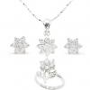 เซ็ท แหวน ต่างหูและสร้อยพร้อมจี้ดอกไม้ประดับเพชรชุบทองคำขาว
