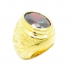 แหวนผู้ชายพลอยรูปไข่สีโกเมนประดับลายฉลุมังกรชุบทอง
