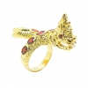 แหวนฟรีไซส์พญานาคประดับพลอยโกเมนชุบทอง