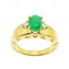 แหวนหยกประดับเพชรฐานฉลุชุบทอง