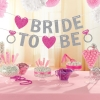 BRIDE TO BE & HEART Glitter Flag (Silver)