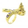 แหวนฟรีไซส์พญานาคประดับพลอยอเมทิสชุบทอง