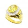 แหวนผู้ชายพลอยบุศราคัมประดับเพชรล้อมชุบทอง