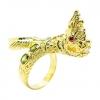 แหวนฟรีไซส์พญานาคประดับพลอยสีเขียวส่องชุบทอง