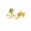 ต่างหูไข่มุกประดับเพชรชุบทอง