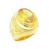 แหวนผู้ชายพลอยรูปไข่บุศราคัมลายฉลุมังกรชุบทอง