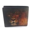 กระเป๋าสตางค์หนังปลากระเบนสองพับสั้นลายหน้าสิงโตสีน้ำตาลเข้มอมส้ม
