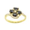 แหวนดอกไม้พลอยสีนิลประดับเพชรชุบทอง