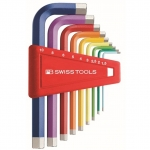 หกเหลี่ยมชุด PB Swiss Tools หัวตัด สั้น รุ่น PB 210 H-10 RB Multicolor (9 ตัว/ชุด)