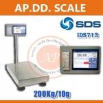 ตาชั่งดิจิตอล เครื่องชั่งน้ำหนักตั้งพื้น 200กิโลกรัม ความละเอียด 10กรัม แบบมีเครื่องพิมพ์สติกเกอร์ในตัว ยี่ห้อ SDS รุ่น IDS713มี Built-In Printer ในตัว สามารถปริ้นสติ๊กเกอร์ได้