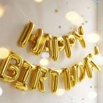 ลูกโป่งฟอยล์ตัวอักษร HAPPY BIRTHDAY (สีทอง)