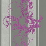 Wallpaper หลุยส์ลายทางใบไม้สีชมพูเทา