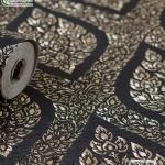wallpaper ลายไทย ลายพุ่มข้าวบิณฑ์ สีดำ-ทอง