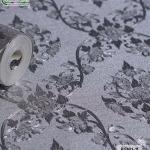 wallpaper ลายไทย ดอกพุดตาล สีเงิน-เทา
