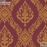wallpaper ลายไทยห้องพระ ลายเทพพนมสีแดง