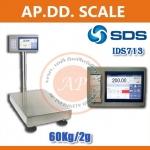 ตาชั่งดิจิตอล เครื่องชั่งน้ำหนักตั้งพื้น 60กิโลกรัม ความละเอียด 2 กรัม แบบมีเครื่องพิมพ์สติกเกอร์ในตัว ยี่ห้อ SDS รุ่น IDS713มี Built-In Printer ในตัว สามารถปริ้นสติ๊กเกอร์ได้