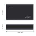 Aukey Aluminium PowerBank Qualcomm Quick Charge 3.0 (QC 3.0 + QC 2.0) 10050 mAh (สีดำ) + แถมสาย Aukey USB