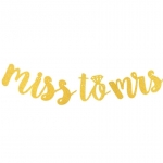 MISS TO MRS Handwriting Glitter Flag (Gold)