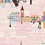 Wallpaper ลายตึก สัญลักษณ์ประเทศอังกฤษพื้นสีชมพู