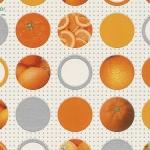 Wallpaper ห้องครัวลายวงกลมผลส้มพื้นขาว