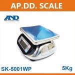 ตาชั่งดิจิตอล เครื่องชั่งดิจิตอล เครื่องชั่งกันน้ำ5000g ความละเอียด1g AND HL-WP-5000 ขนาดจานชั่ง 23.2x19.2cm.