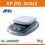 ตาชั่งดิจิตอล เครื่องชั่งดิจิตอล เครื่องชั่งกันน้ำ 3000g ความละเอียด1g AND HL-WP-3000 ขนาดจานชั่ง 12.8x12.8cm.