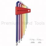 หกเหลี่ยมชุด PB Swiss Tools หัวบอล ยาว สีรุ้ง คอสั้น 100° รุ่น PB 2212 LH-10 RB (9 ตัว/ชุด)