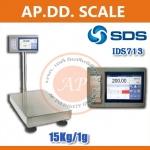 ตาชั่งดิจิตอล เครื่องชั่งน้ำหนักตั้งพื้น 15กิโลกรัม ความละเอียด 1 กรัม แบบมีเครื่องพิมพ์สติกเกอร์ในตัว ยี่ห้อ SDS รุ่น IDS713มี Built-In Printer ในตัว สามารถปริ้นสติ๊กเกอร์ได้