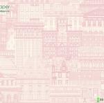 วอลเปเปอร์ติดผนังลายตึก-สิ่งปลูกสร้าง สีชมพู