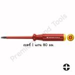 ไขควง PB Swiss Tools รุ่น PB 5181.1-80 ปากพิเศษ ผสมแบน+แฉก เบอร์ 1 แกนยาว 80 มม. ด้ามแดงหุ้มฉนวนกันไฟ