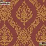 wallpaper ลายไทยห้องพระ ลายเทพพนมสีแดงอ่อน