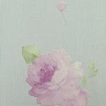 Wallpaper วินเทจดอกกุหลาบม่วงพื้นสีเขียว