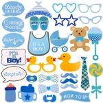 พร็อพถ่ายรูป, ป้ายคำพูด, ป้ายพร็อพถือถ่ายรูป, ป้ายพร็อพติดไม้ - งาน Baby Shower (สีฟ้า - สำหรับเด็กผู้ชาย)