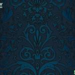 versace wallpaper ลายใบไม้สีน้ำเงิน